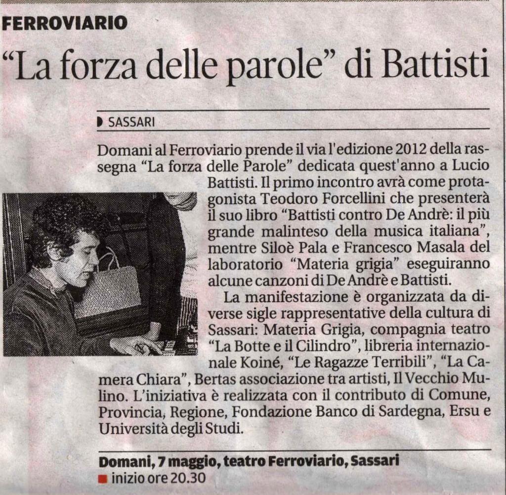 La nuova Sardegna 6 maggio 2012